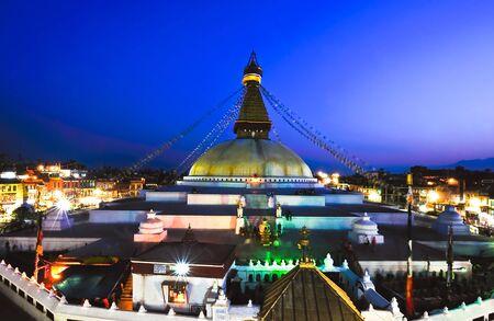 prayer tower: Boudhanath  Stupa in the Kathmandu valley, Nepal