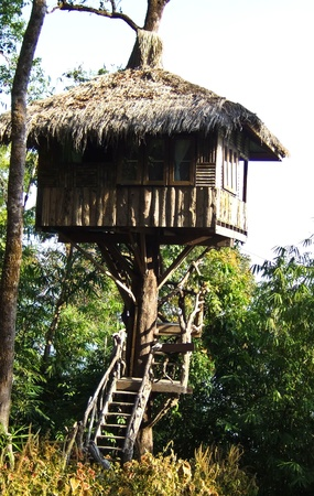 tree houses in the Thong Pha Phum National Park, Thailand