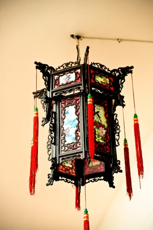 Chinese hanging lamp with decoration