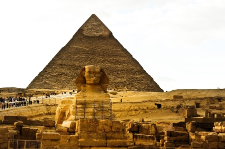 sphinx and Khufu pyramid Stock Photo