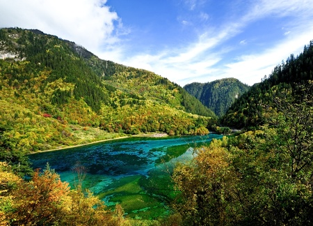 autumn in Jiuzhaigou Stock Photo