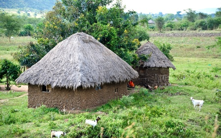 mud house: African soil house,Tanzania