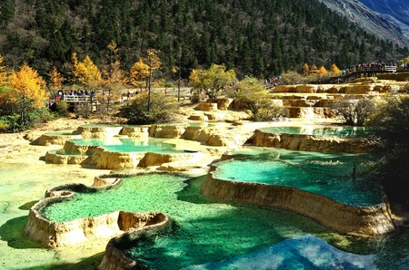 Huanglong Mineral Pool in China