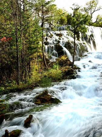 Waterfall in Jiuzhaigou, Sichuan province, China photo