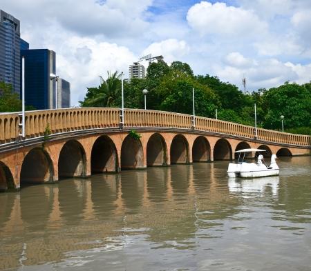 bridge in a park in Thailand photo