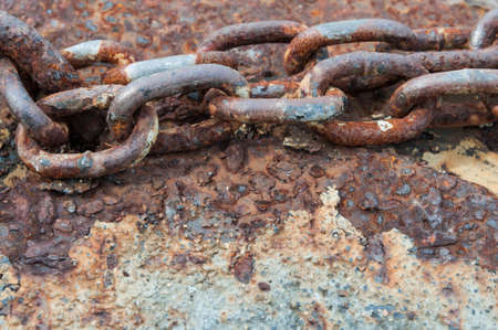rusty chain: old rusty chain link Stock Photo