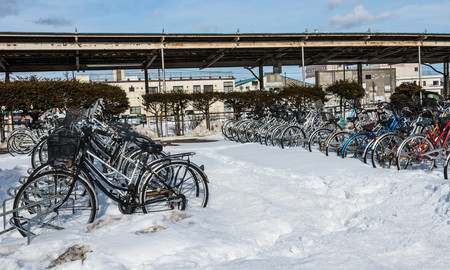 bike parking: Lot of bicycle at a bike parking in Japan