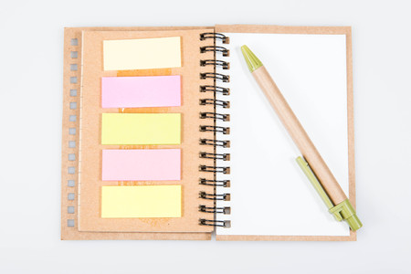 notebook and pen on white background Stock Photo