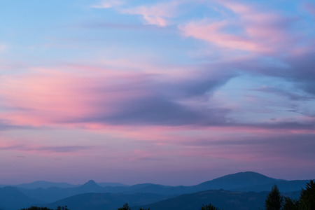soft peak: Sunset in the mountains Stock Photo