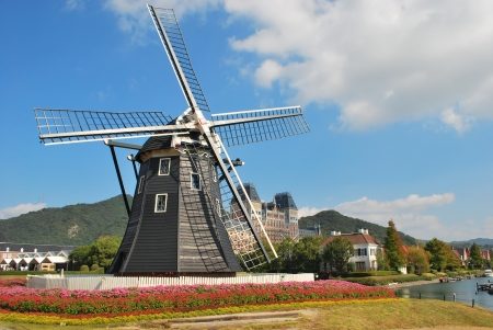 dutch windmill: Dutch Windmill in Japanese Theme Park Stock Photo