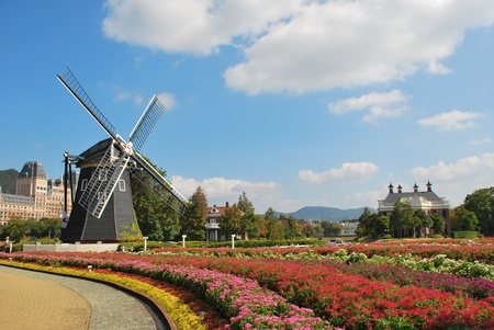 theme park: Dutch Windmill in Japanese Theme Park Stock Photo