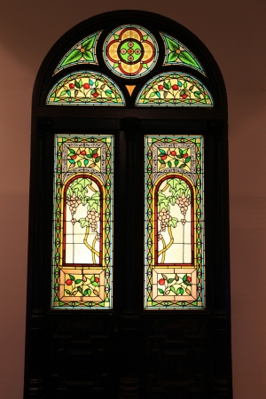 door with colourful glass mosaic