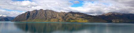 Panorama view of Wakatipu lake photo