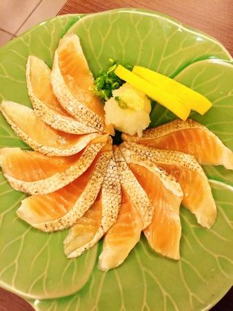 style: Salmon slide Japanese style Stock Photo