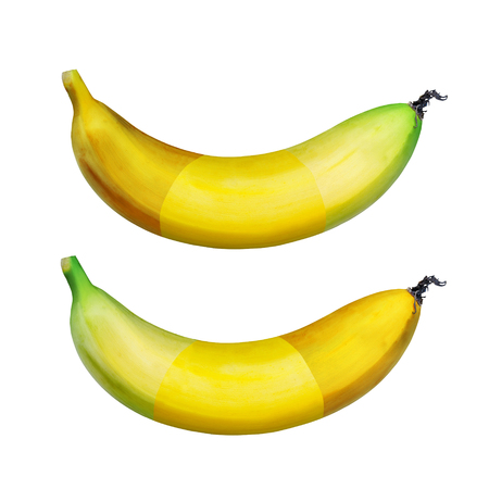 Three Stages different Ripe banana isolated on white background