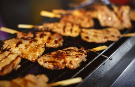 Traditional Grilled pork skewers on the grill