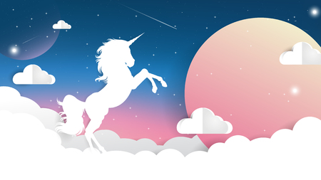 Unicorn Paper cut on Night sky with moon light, Unicorn Gradient background colorful.