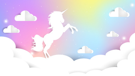 Unicorn Paper cut on pastel sky, Unicorn Gradient background colorful. Sky unicorn, Galaxy Cute Color star. Иллюстрация