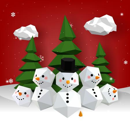 Snowman and Christmas Papercraft Pastel 3D, Gradient background, Vector gradient Illustrator Иллюстрация