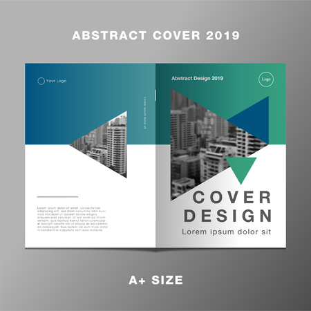 Cover book report triangle green gradient, Template layout design, Cover book. Vector illustration, Presentation gradient background.