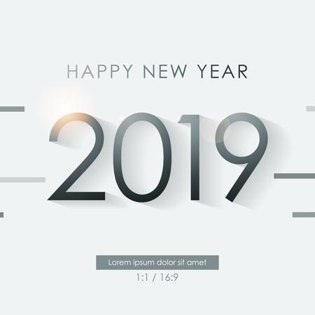 Banner Happy New Year 2019 Luxury, Vector Illustration.