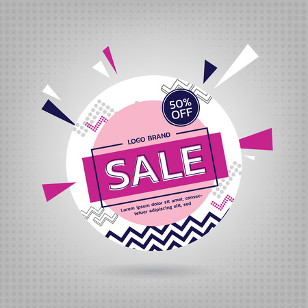 Sale Banner Pink Pastel Design. Vector illustration.
