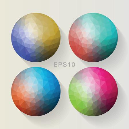 Polygon ball all color set. Vector Illus EPS10 Ilustração