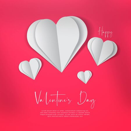 White paper hearts on pink neon background