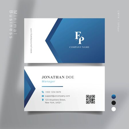 Blue and white smart business card. Vector Illustration.