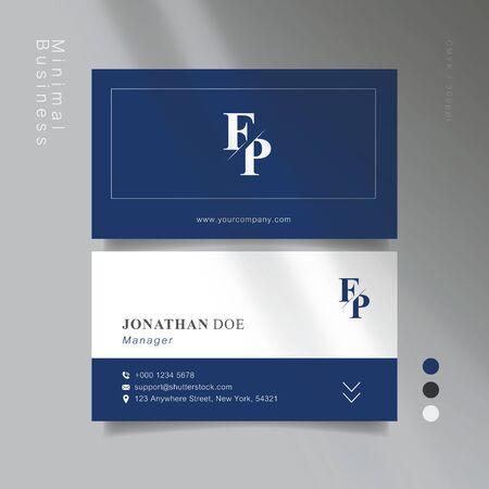 Dark blue gray minimal business card. Vector Illustration. Иллюстрация