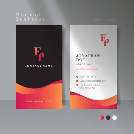 Hot pink curve minimal business card. Vector Illustration. Иллюстрация