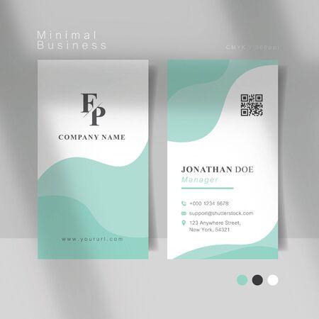 Soft mint curve minimal business card. Vector Illustration.