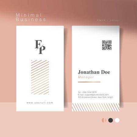 Soft pink minimal business card. Vector Illustration.