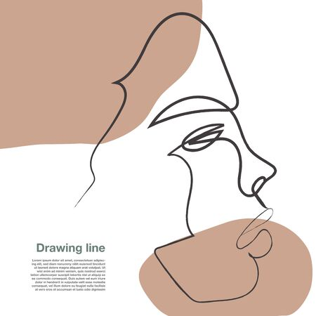 Drawing face woman contemporary 02. Decor Printable Art, Abstract Art Prints, Modern Wall Art, Portrait in a modern abstract graphic style. Иллюстрация