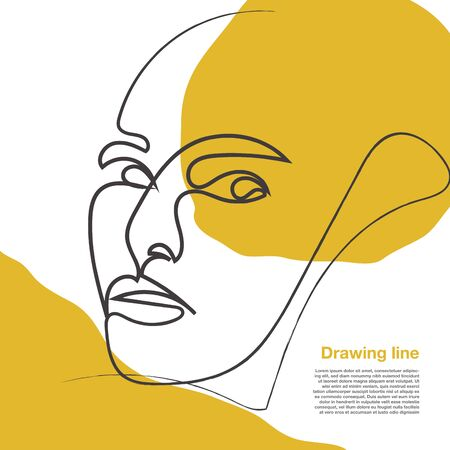 Drawing face woman contemporary. Decor Printable Art, Abstract Art Prints, Modern Wall Art, Portrait in a modern abstract graphic style. Иллюстрация