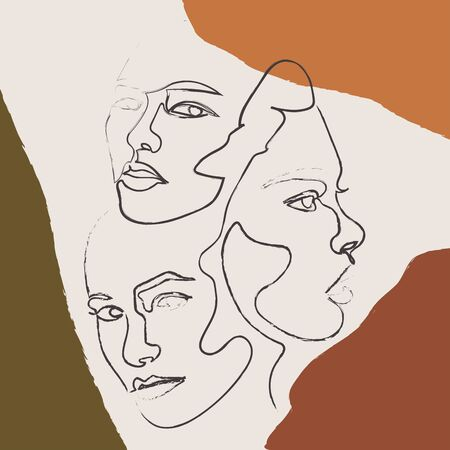 Three women contemporary line drawing. Decor Printable Art, Abstract Art Prints, Modern Wall Art, Portrait in a modern abstract graphic style. Иллюстрация