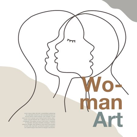 Three women face contemporary line drawing. Decor Printable Art, Abstract Art Prints, Modern Wall Art, Portrait in a modern abstract graphic style. Иллюстрация
