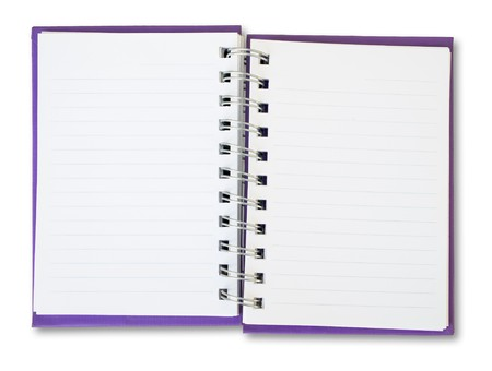 Purple cover of open white note book  Stock Photo - 7072819