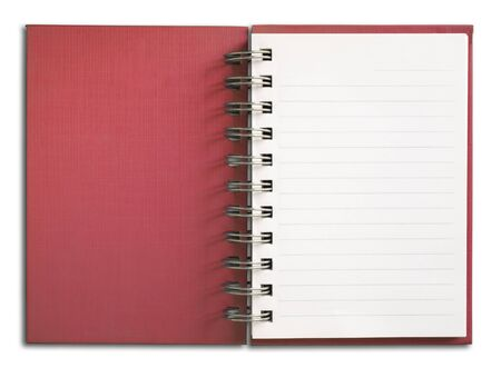 Red Notebook vertical single white page Stock Photo - 7185041