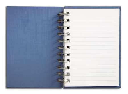 Blue Notebook vertical single white page Isolated Stock Photo - 7213204