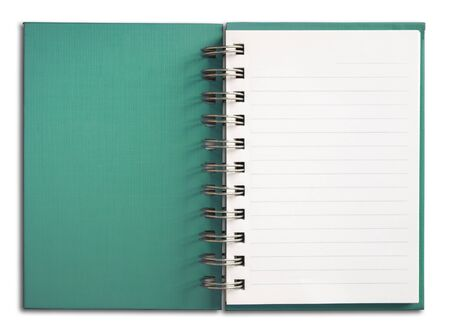 Green coverNotebook vertical single white page Stock Photo - 7236053