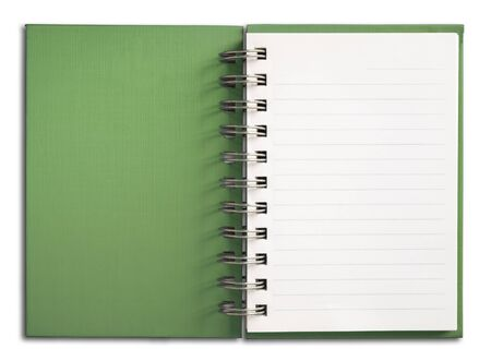 Green Notebook vertical single white page Stock Photo - 7251854