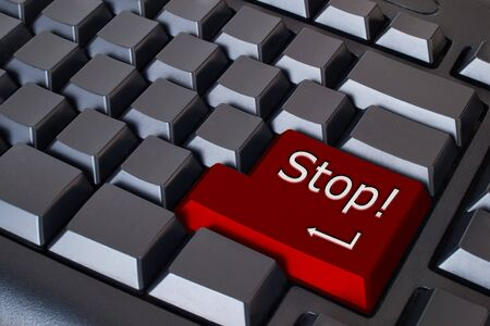 Red stop button on Black keyboard  Stock Photo - 7290753