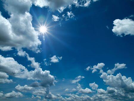 Sun shine White cloud and bule sky Stock Photo