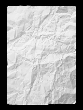 crumpled paper: White crumpled paper on black background
