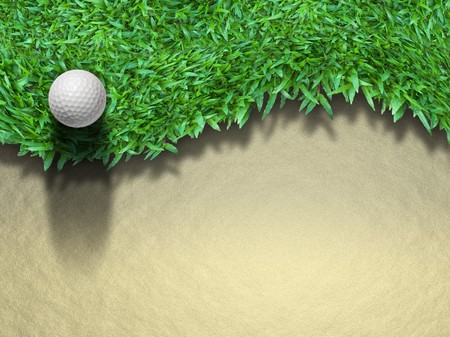 Golf ball on green grass for web page background Stock Photo