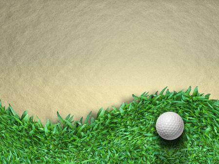 White golf ball on green grass background photo