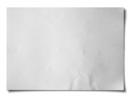 fold: White crumpled paper on white background isolated Horizontal Stock Photo