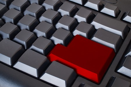 Empty Red Enter button on black keyboard Stock Photo - 7534822