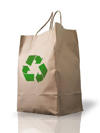 Recycle Brown Crumpled paper Bag form the market photo